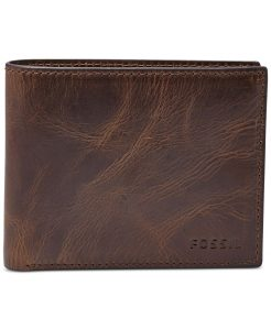 Men's Leather Wallet Derrick RFID-Blocking Bifold with Flip ID